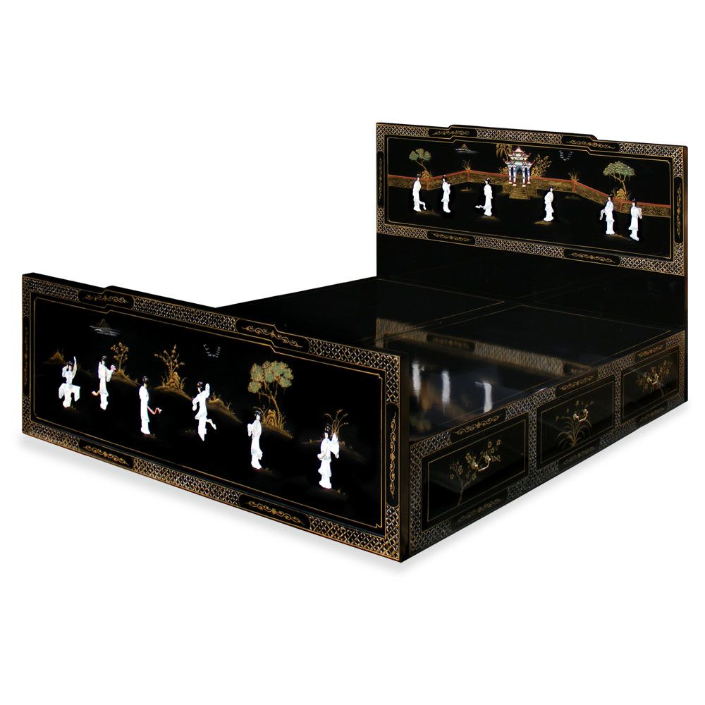 Best Korean Bedroom W Mother Of Pearl Black Lacquer King 400 x 300