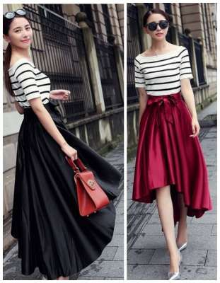 beautiful, modest skirt. Bow Vintage High Waist Hi-Low Pleated ...