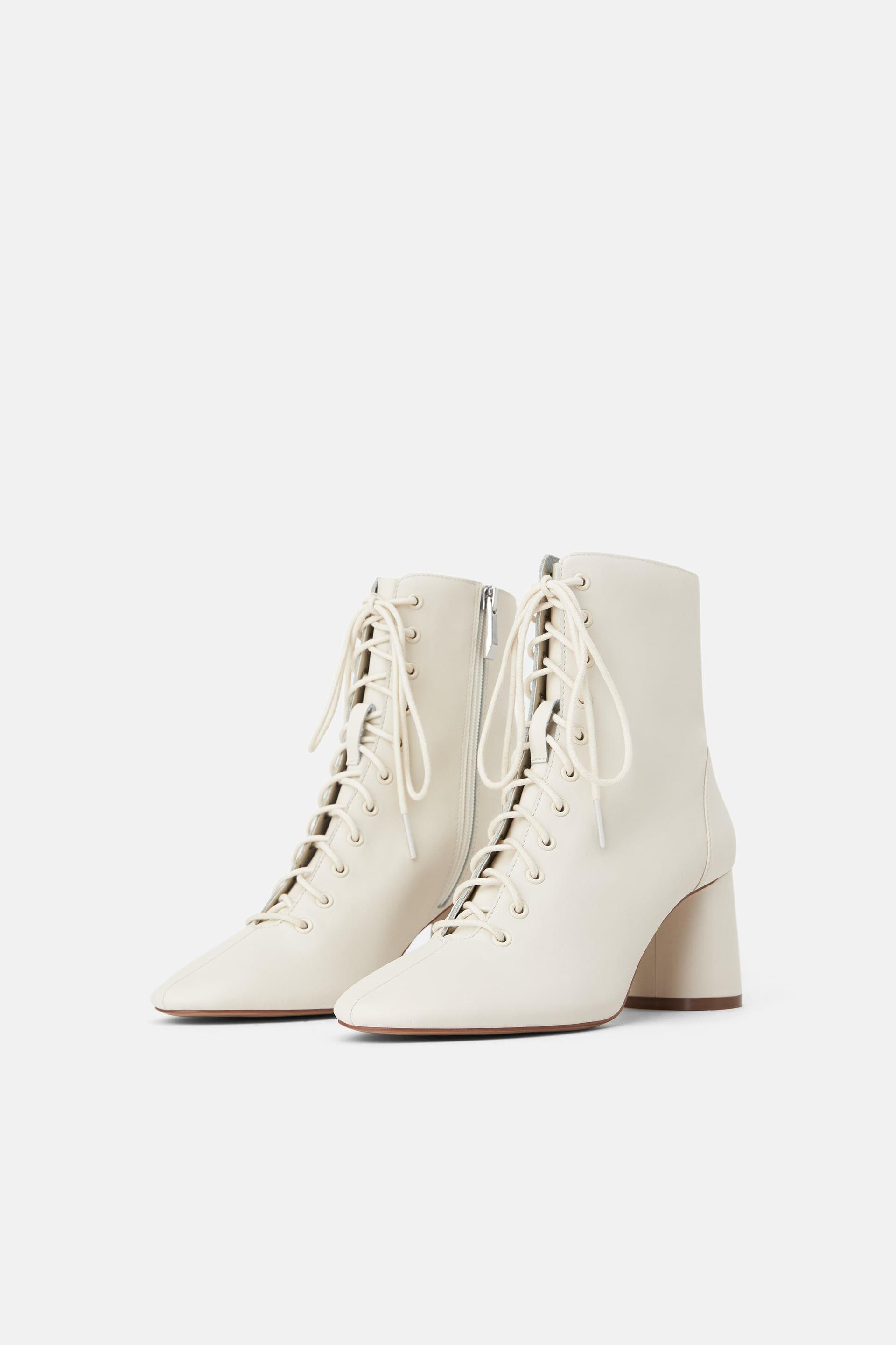 Leather laced heeled ankle boots in 2019 | Leather ankle