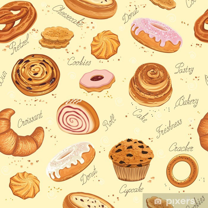 Bakery Background Wall Mural Pixers We Live To Change In 2021 Cookie Vector Bakery Different Cakes