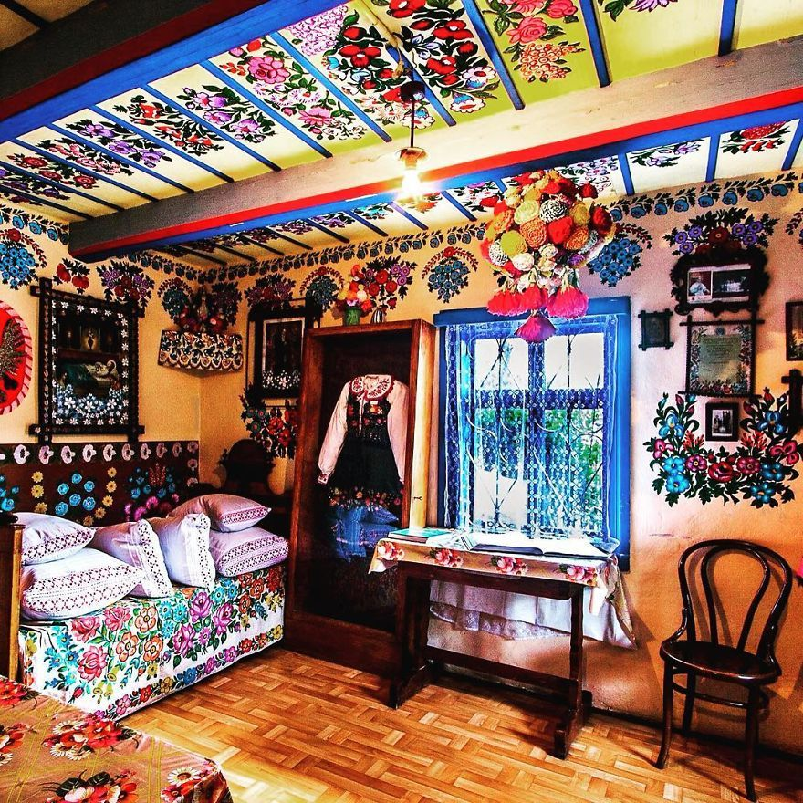 Little Polish Village Where Everything Is Covered In Colorful Flower Paintings  Travelling Never Ends