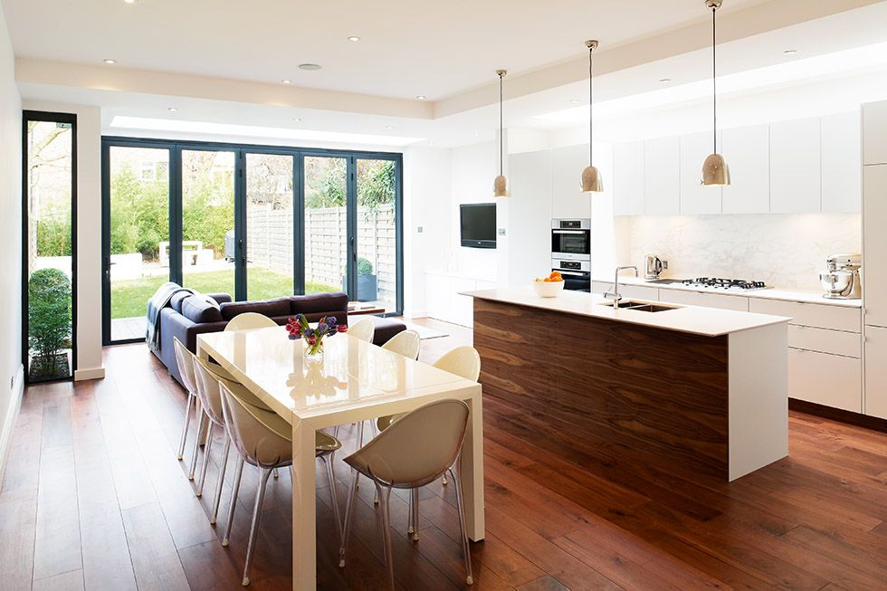 open plan kitchen diner with central island | Dining | Pinterest