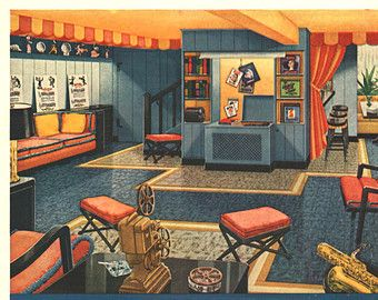 Vintage Armstrong Floors Tile Ad 1940's Home Basement Mid Century Style Home Theater