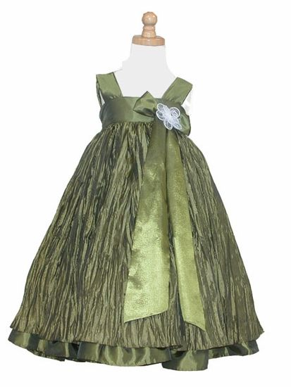 Olive Crinkled Taffeta Dress w/ Bow & Flower