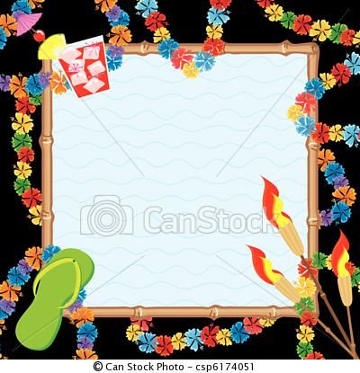 Vector - Hawaiian Pool Party Invitation - stock illustration - free invitation clipart