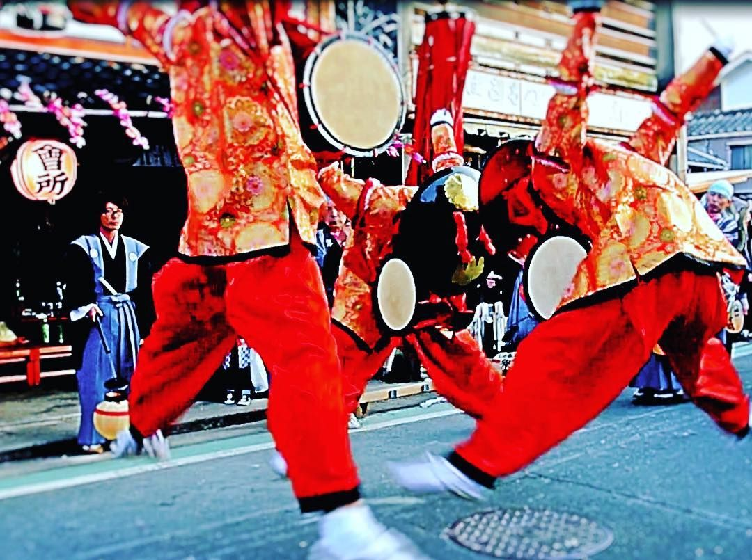 Sasa-odori, danse de trois jeunes hommes munis d'un tambour. #unagouji #sasaodori #fêteprintemps #toyokawa #aichi #笹踊 #豊川市