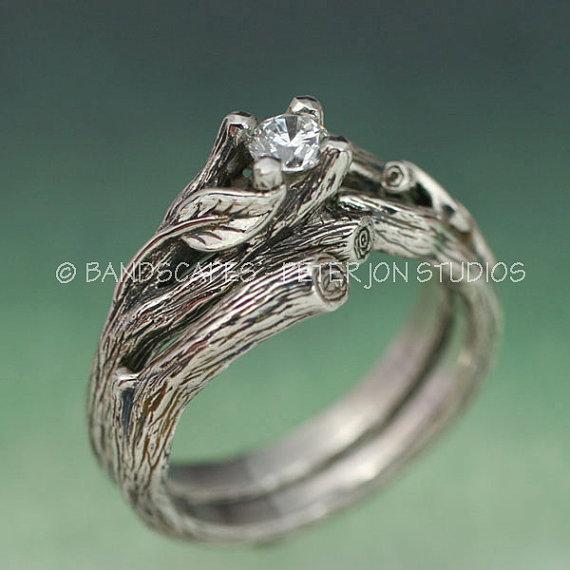 acadia wedding ring set engagement ring matching weddng band 14k gold with moissanite - Engagement And Wedding Ring Set
