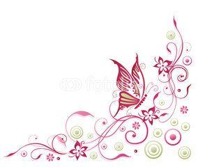 Vektor Sommer Schmetterling Blume Ranke pink rosa  Ornamente  Blumen Rosa und Schnrkel