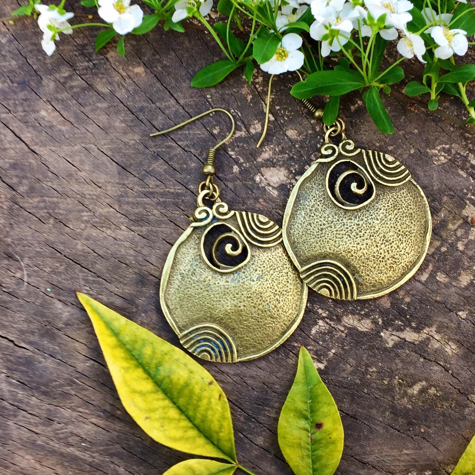 This Is A Pair Of Antique Bronze Disc Earrings The Hooks Are In Too