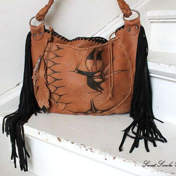 Aztec Bird Leather Bag Festival Fringe Purse By Sweetsmokebags