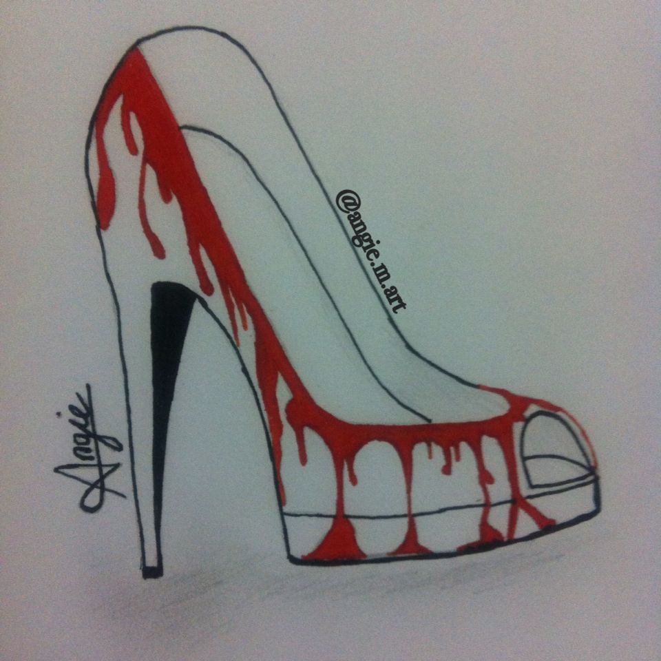 Bloody shoes drawing