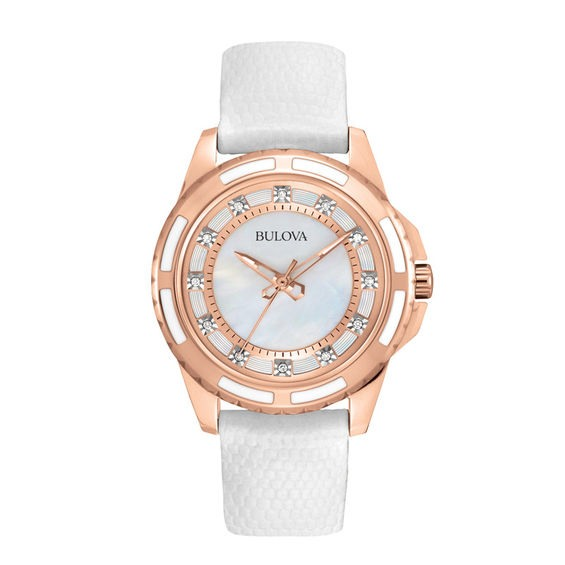1bc56005e Ladies' Bulova Diamond Accent Rose-Tone Strap Watch with Mother-of-Pearl  Dial (Model: 98P119)