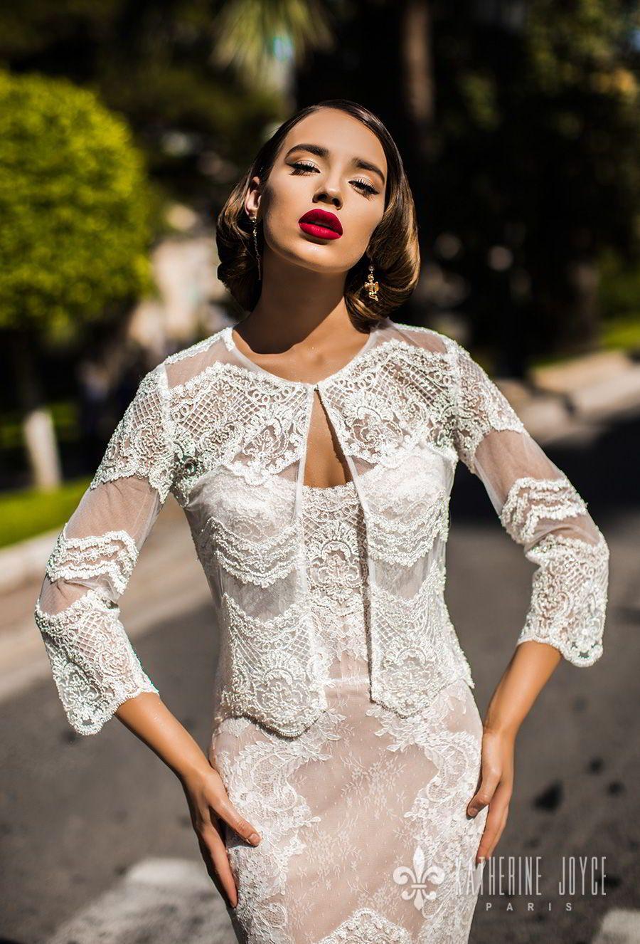 Lace wedding dress with cap sleeves sweetheart neckline  Katherine Joyce  Wedding Dresses u ucMa Cherieud Bridal Collection