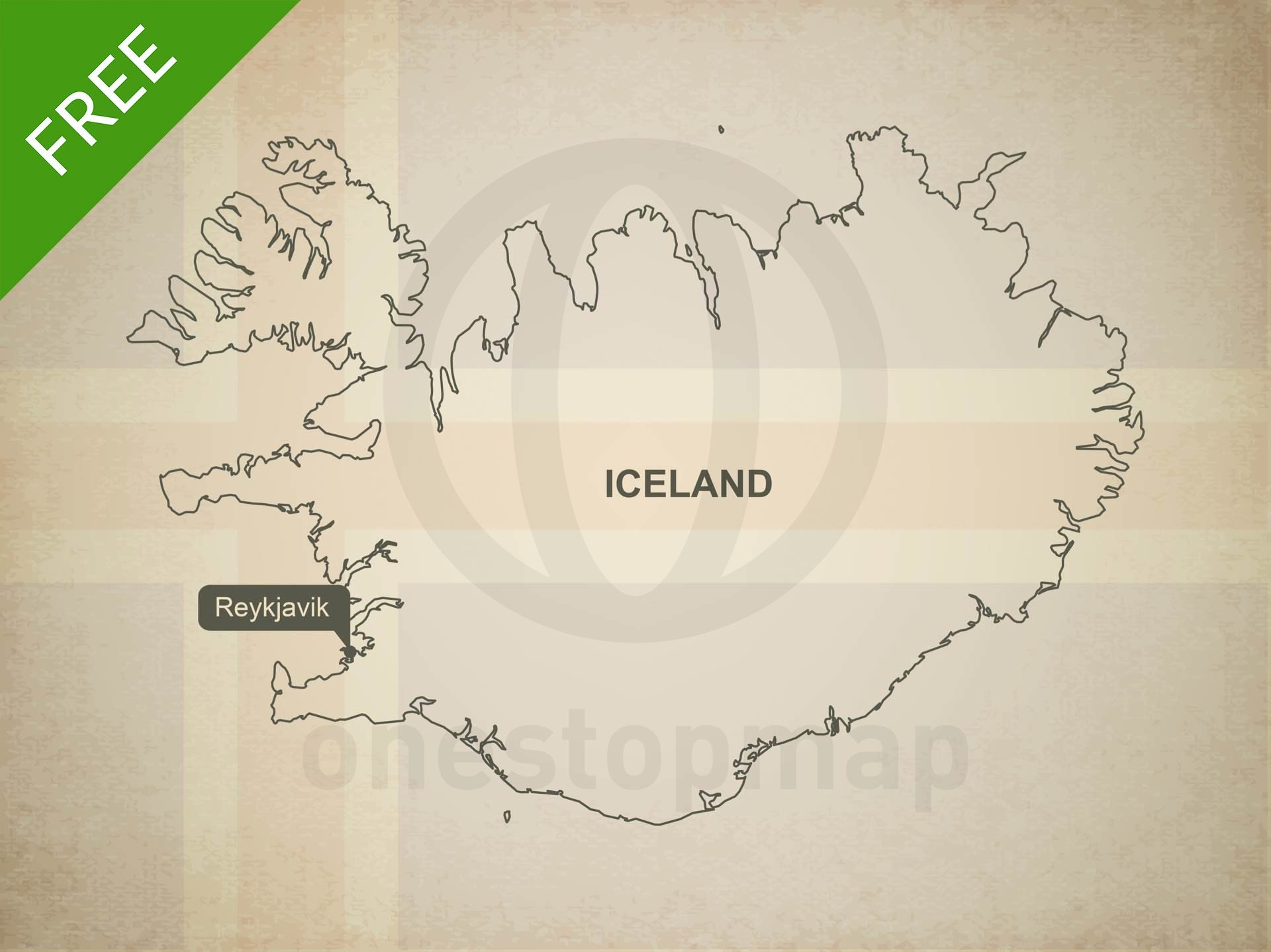 free vector map of iceland outline