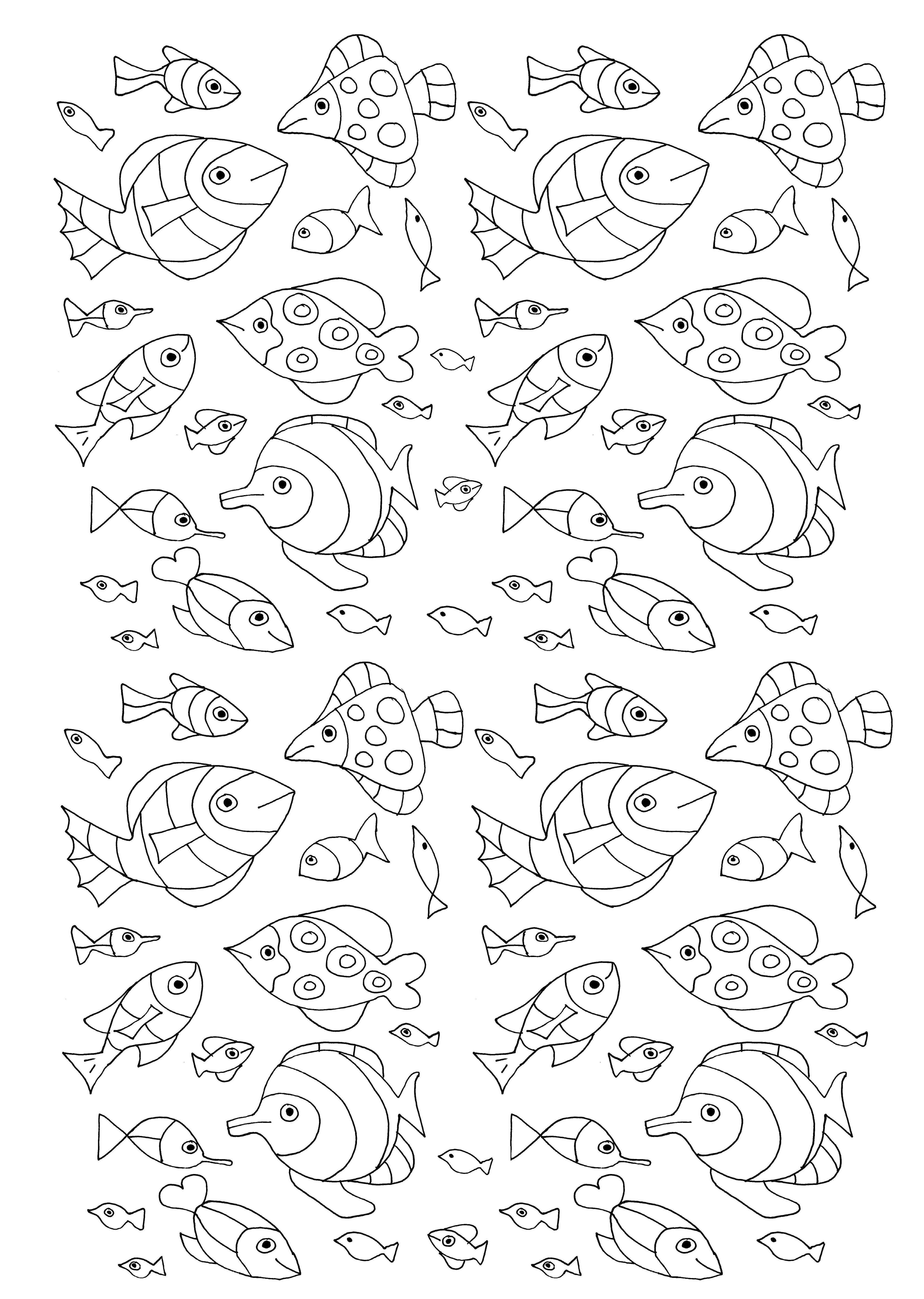 Numerous Fish Water Worlds Coloring Pages For Adults
