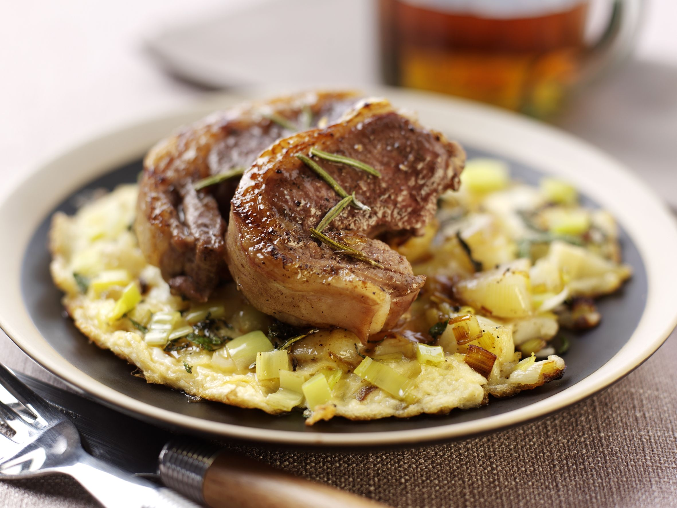 Minted Leek And Potato Frittata With Lamb Noisette Www Britishleeks Co Uk