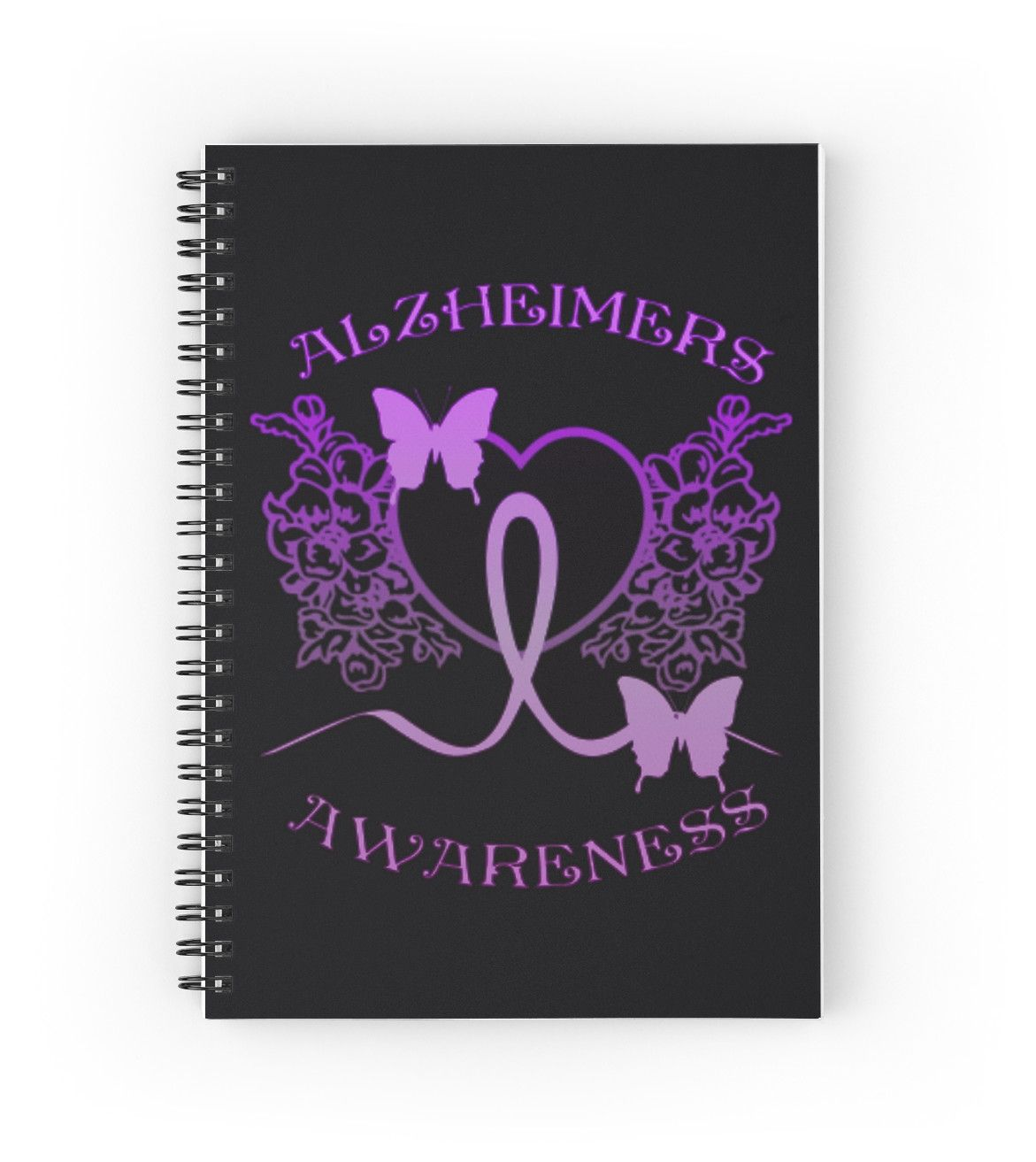 Alzheimers Awareness Purple Butterflies   Hardcover journals also available in ruled line, graph, or blank.