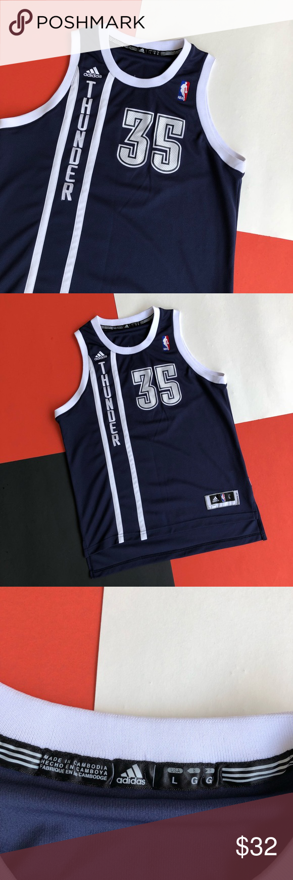 sports shoes f2a1a d44bc ADIDAS KEVIN DURANT KD #35 ALTERNATE OKC JERSEY Throwback ...