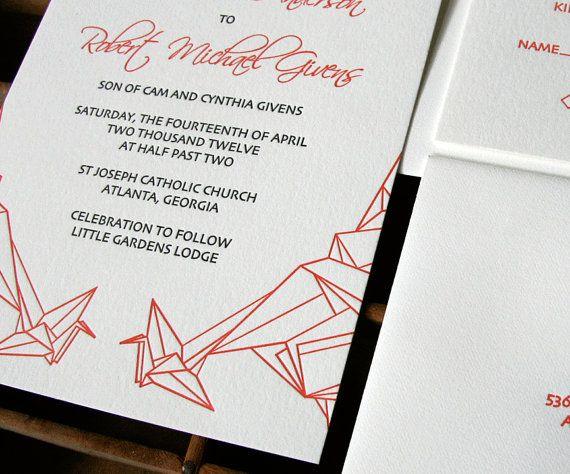 Rachel Doretti For When The Time Comes Letterpress Wedding Invitation Paper Crane By Blackbirdletterpress