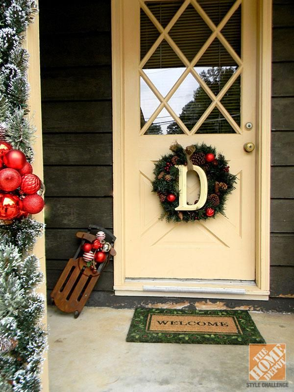 warm up a front door wreath with a wooden letter
