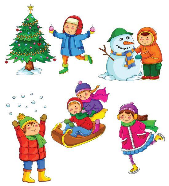 Клипарт для оформления работ - Дети на прогулке зимой ...