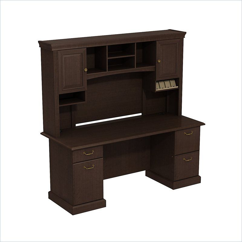 BBF Syndicate 72W X 22D Double Pedestal Desk with Hutch - SYN010MR - Lowest price online on all BBF Syndicate 72W X 22D Double Pedestal Desk with Hutch - SYN010MR