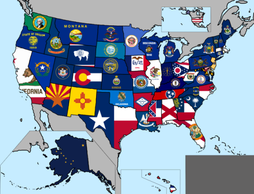 Map Of All State Flags Of The Us Flag Map State Flags
