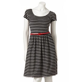 Jessica Howard Striped Scallop-Trim Fit and Flare Dress