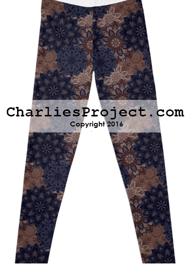 Navy blue, brown floral medallion leggings. Just like Lularoe with the yoga waist band, buttery soft fabric, and limited prints but no searching! They are all here! And cheaper with pre-order! Charlie's Project adult and kid leggings.
