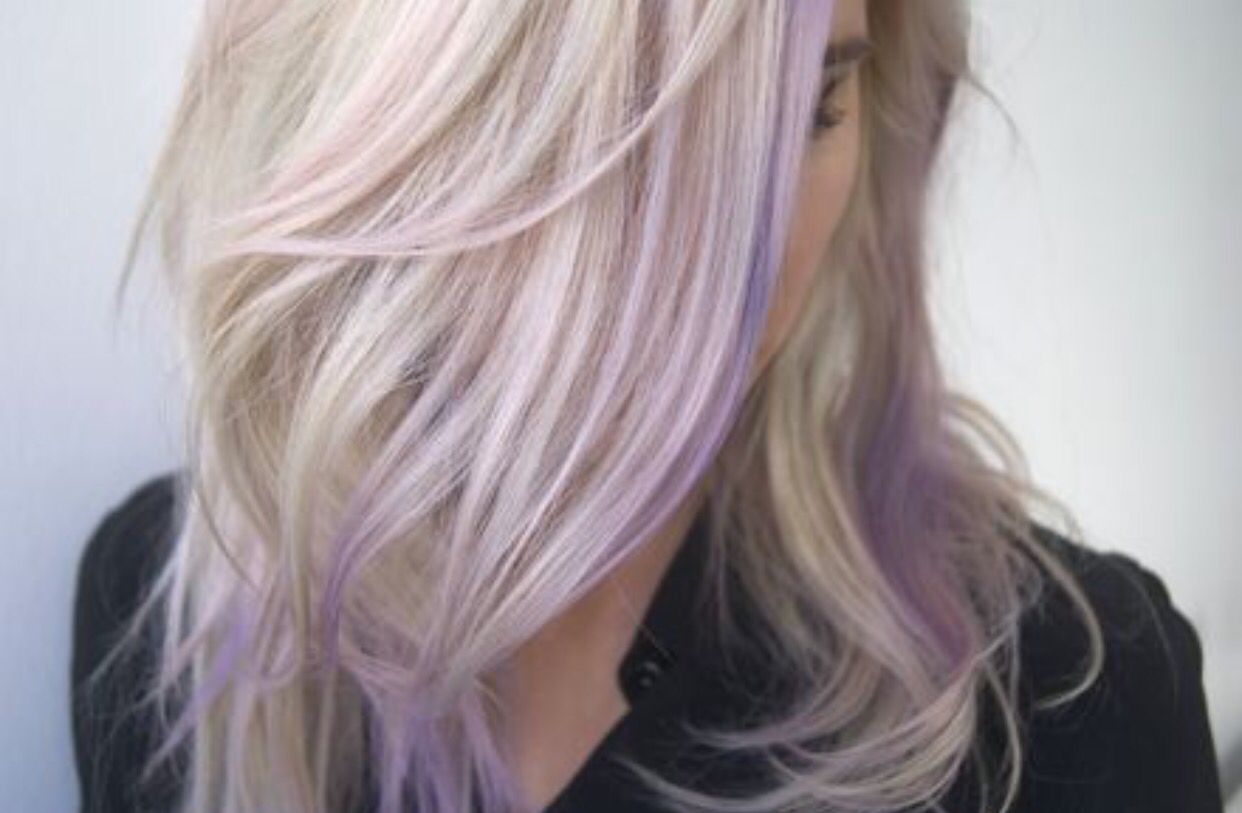 Purple balayage peekaboo highlights