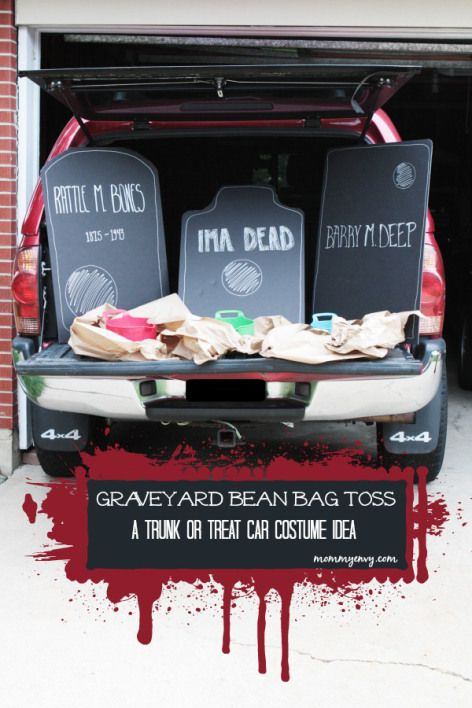 Graveyard bean bag toss for decorating your car Truck or Treat idea - halloween decorations for your car