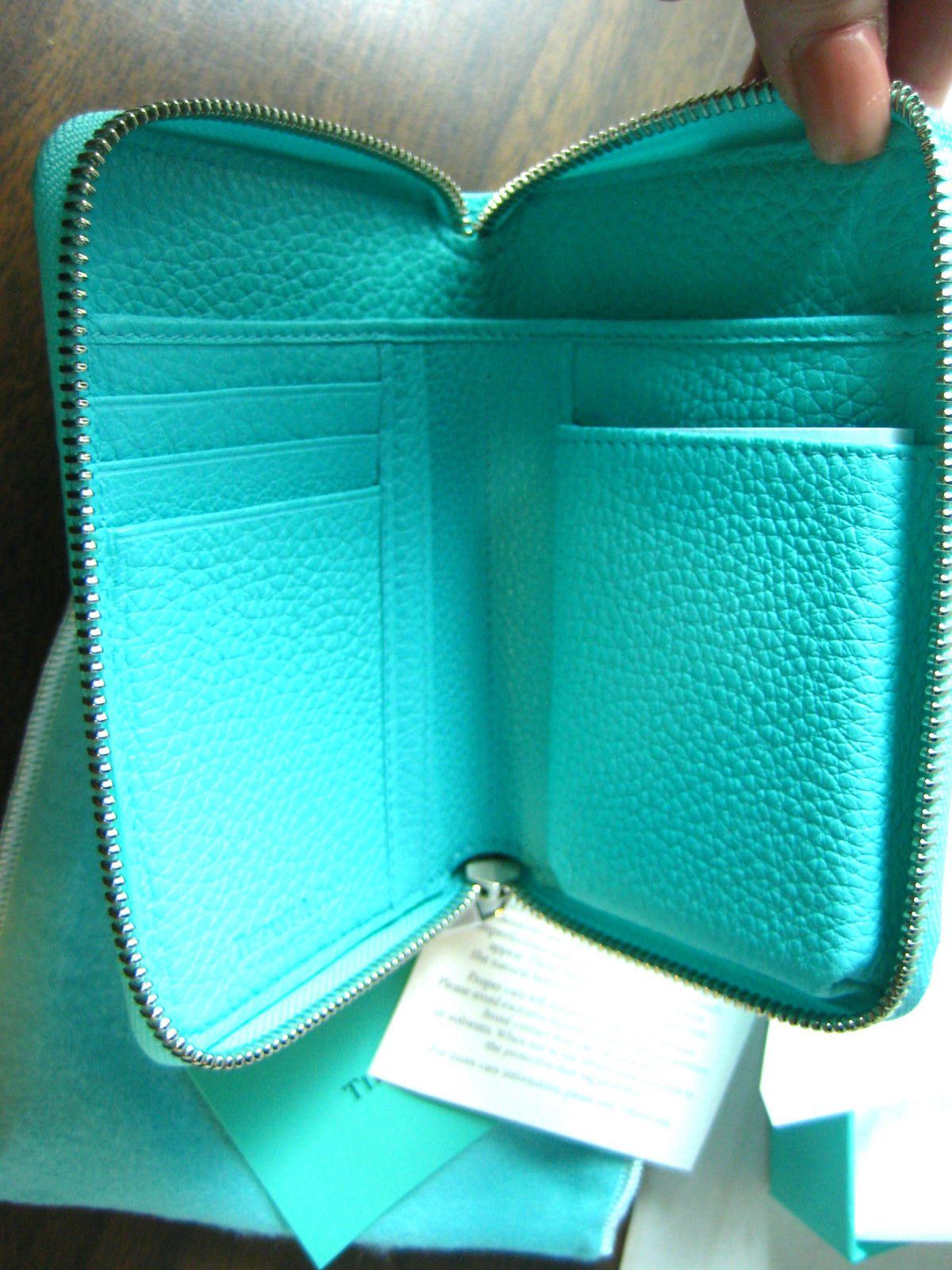 45029d1fcd Tiffany Co Blue Leather Zip Around Wallet with Smart Phone Pocket | eBay