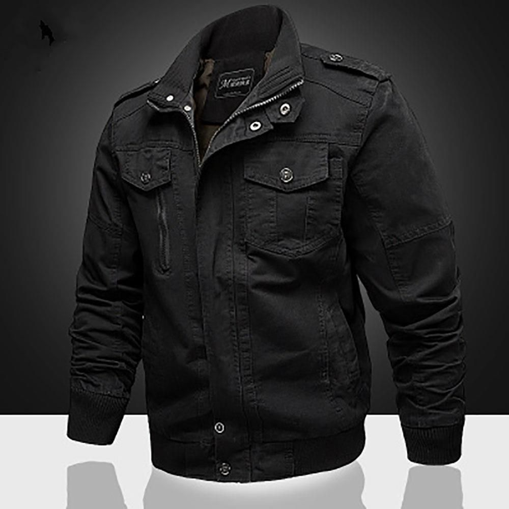 Ca806 Men S Autumn Winter Casual Stand Collar Cotton Bomber Jacket Size 5xl Black Mens Jackets Outdoor Jacket Stand Collar Jackets [ 1000 x 1000 Pixel ]