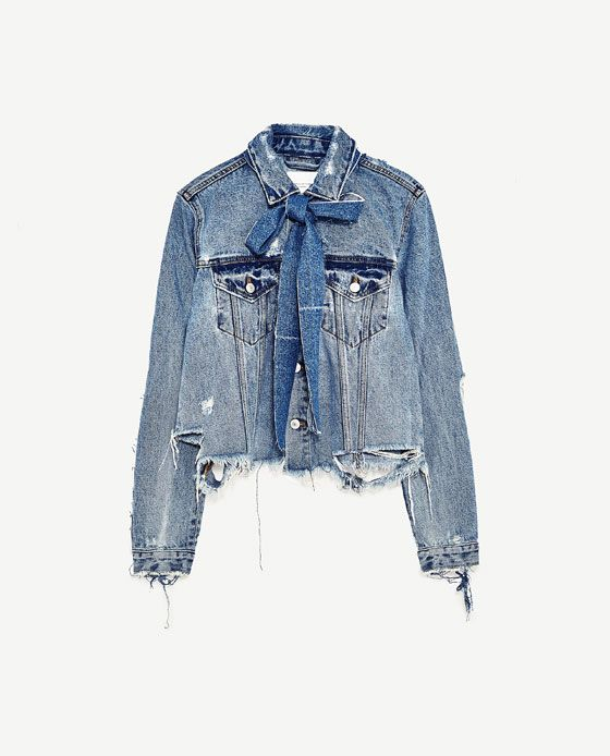 47669996a Image 11 of DENIM JACKET WITH BOW from Zara | If I was cool in 2019 ...