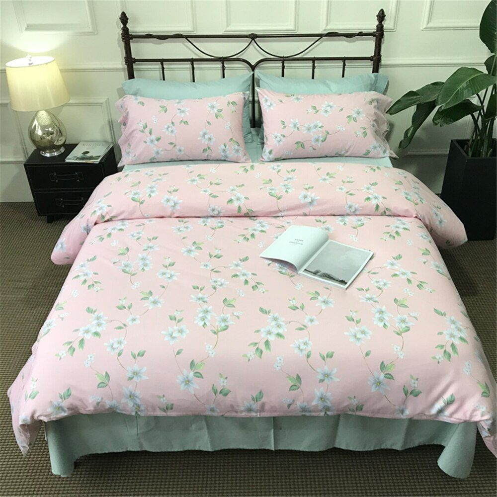 Duvet Cover Style Bedding Cotton Comfy Floral Flower Printed