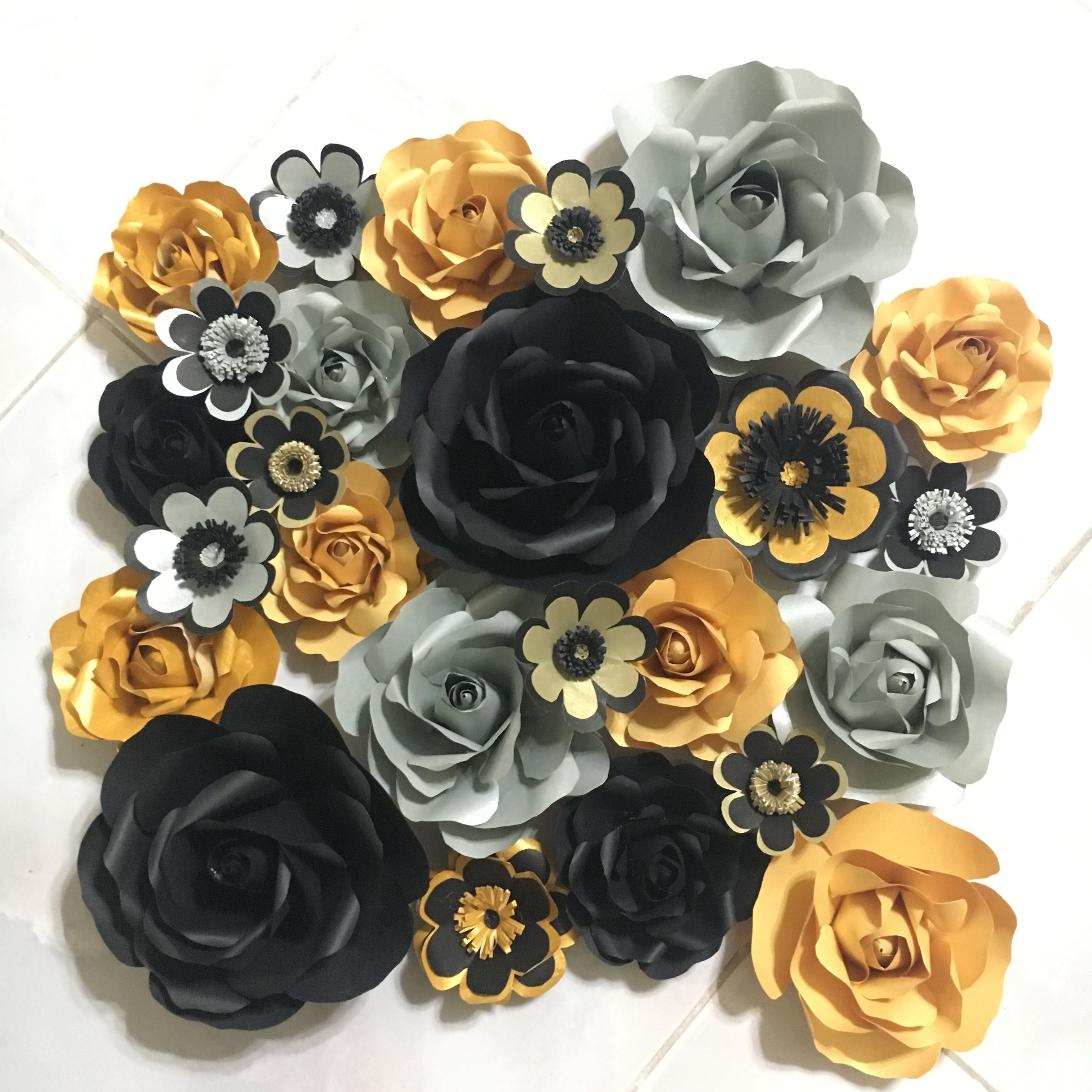 Gold Silver Black Paper Flower By Gelle Diy Gelle Diy