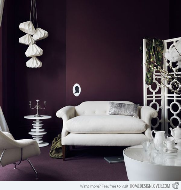 15 Catchy Living Room Designs With Purple Accent Plum