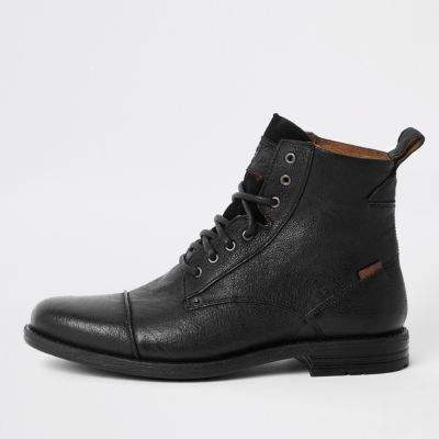 levi's mens black leather laceup boots  leather lace up