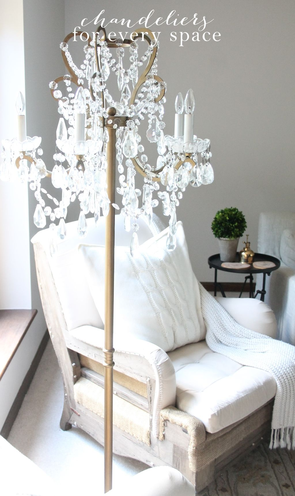 Chandelier floor lamp decor objects pinterest floor lamp a roundup of gorgeous chandeliers including floor lamps plug arubaitofo Images