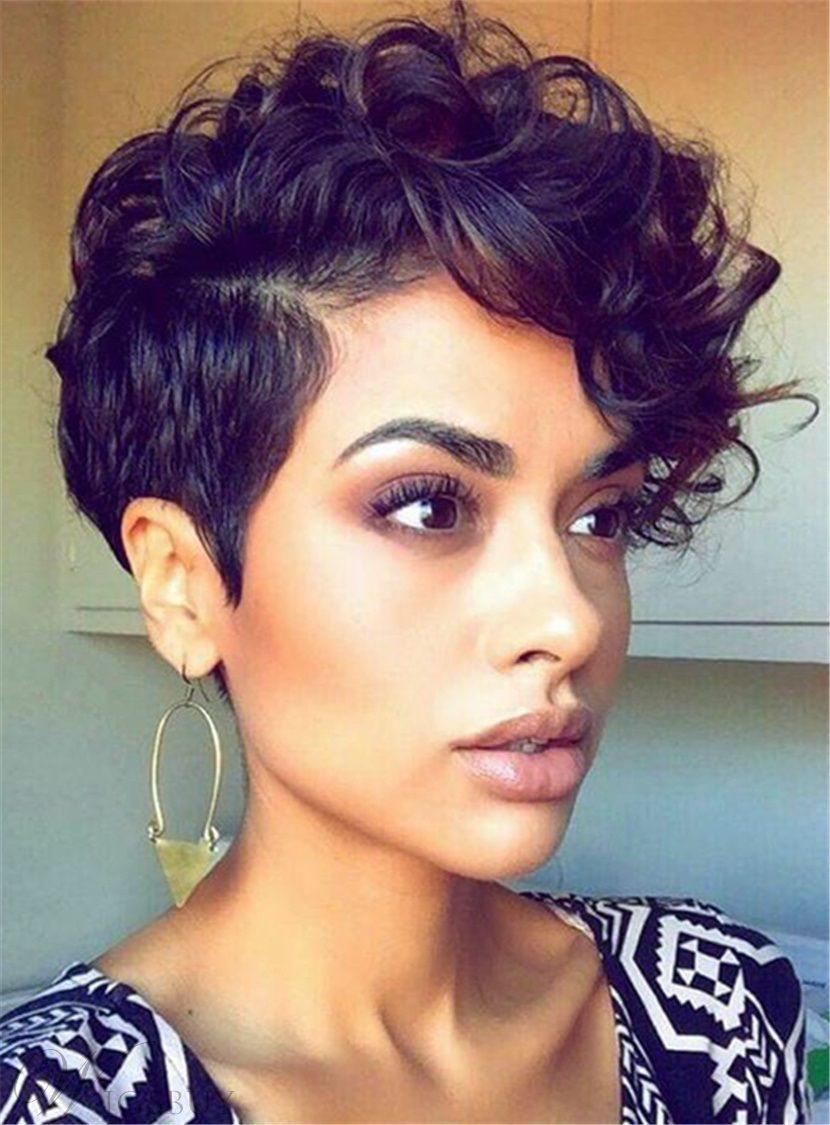 Short Curly Sexy Pixie Synthetic Hair Capless