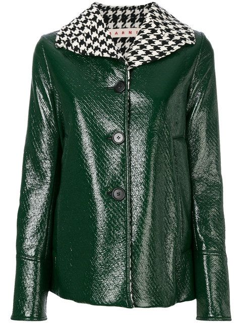 49434eacfb Marni houndstooth collar patent jacket