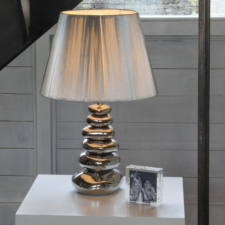 Silver ceramic pebbles table lamp base table lamps pinterest silver ceramic pebbles table lamp base aloadofball Image collections