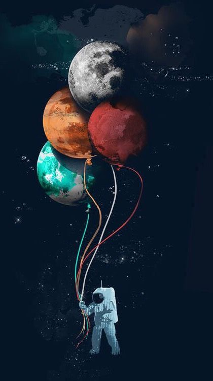 Space Astronaut Planet Balloon iPhone Wallpaper in