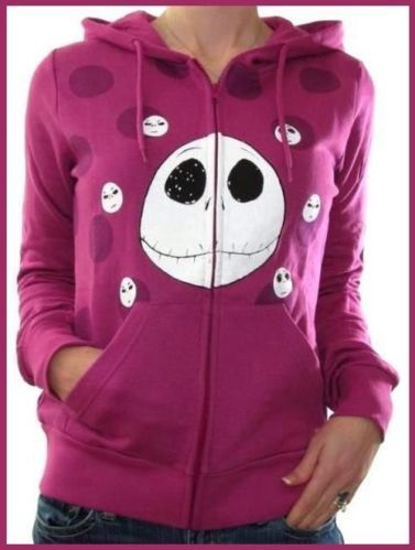 Disney Nightmare Before Christmas Hoodie Jacket Polka Dot Faces Pink
