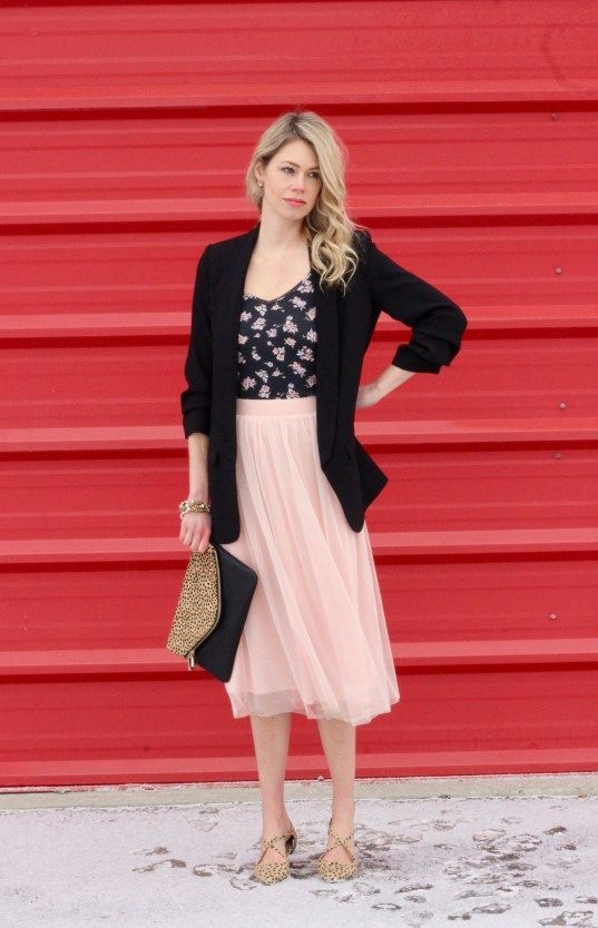 OOTD look inspiration for under $100! Blazer, pink tulle skirt, floral tank, leopard accessories.: