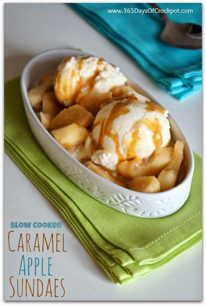 Recipe for Slow Cooker Caramel Apple Sundaes #dessert #crockpot #slowcooker