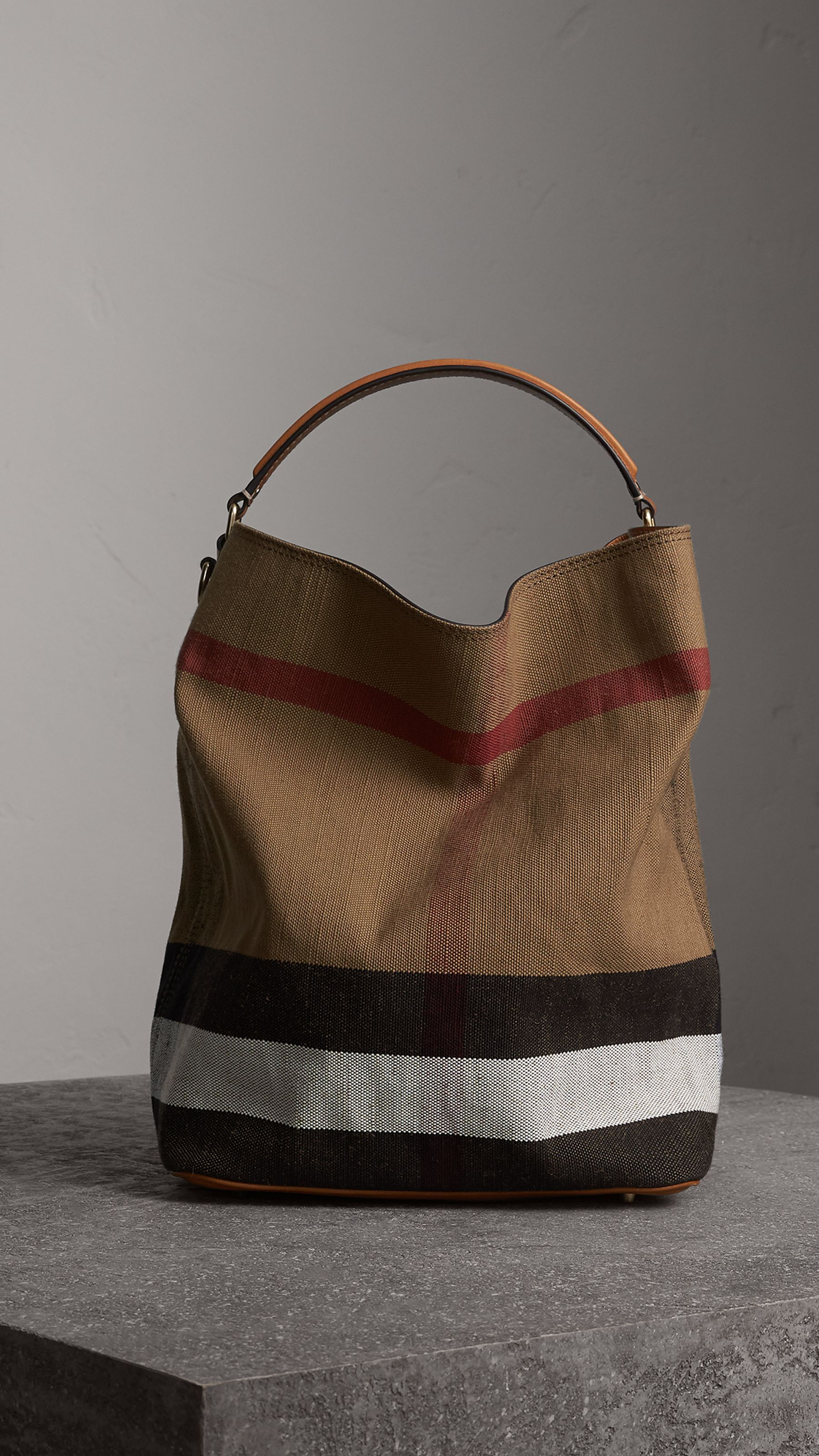e975f0d31169 The Medium Ashby in Canvas Check and Leather in Saddle Brown - Women