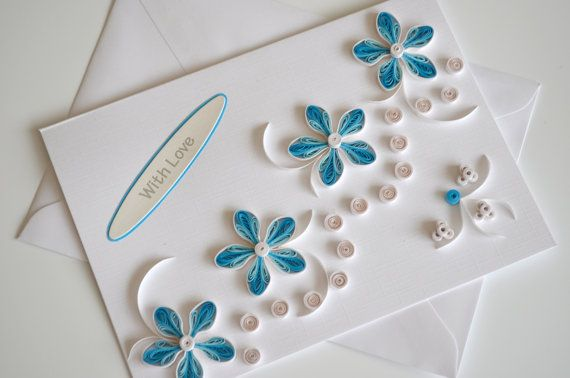 Quilled blue and white flowers greeting card with love by vaidaaa