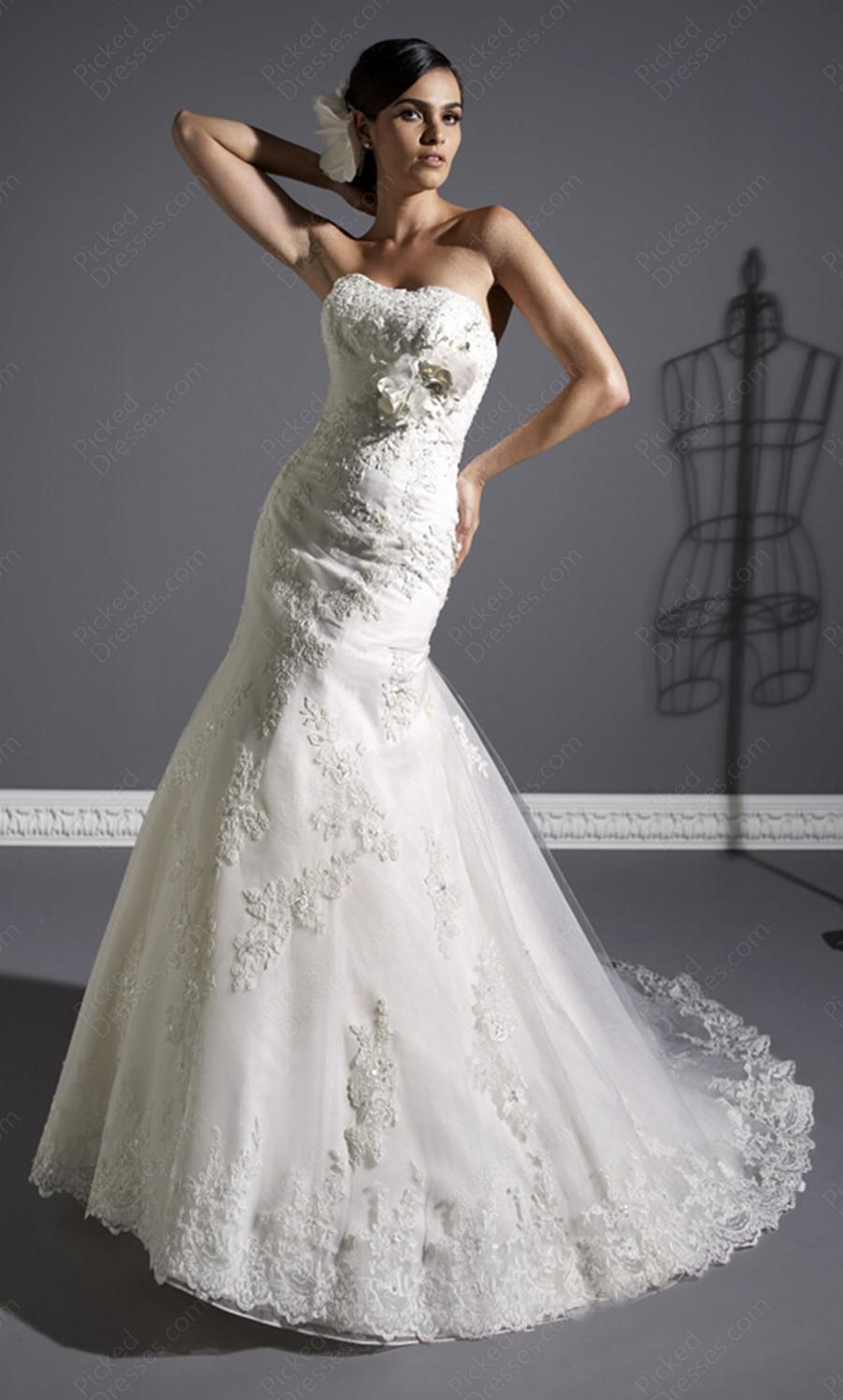 Strapless fitted lace wedding dresses  mermaid wedding dress  dresses  Pinterest  Wedding dress Dream