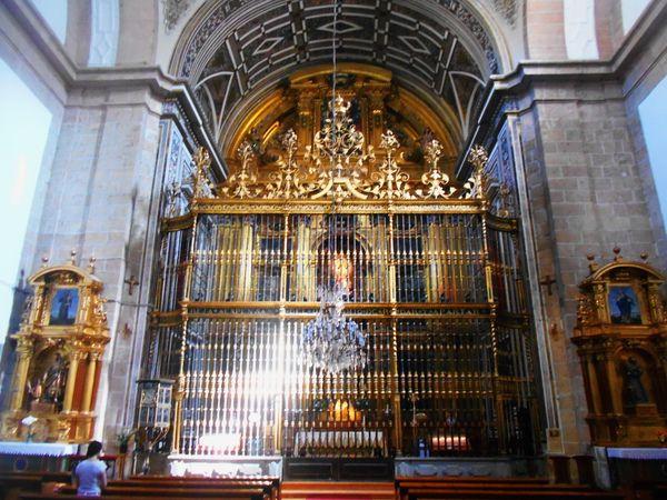 Reja y altar. Santuario de la Fuencisla